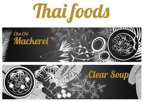 Thai Food banner massaman and Phad thai vector