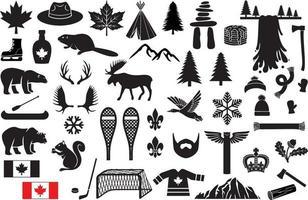 canadá, iconos, conjunto vector