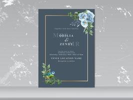 wedding card set blue floral and bird vector