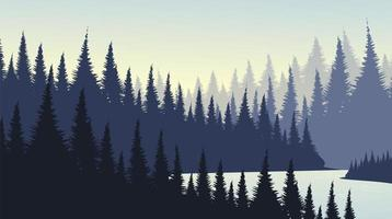 Pine Forest with Rive landscape background vector