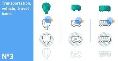 This is a set of balloon and truck and bus icons in different style vector
