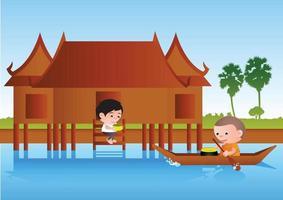 Big bubble head man cartoon gives food to monk on boat vector
