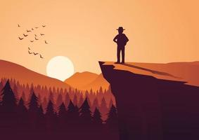 man standing on cliff to look at sun vector