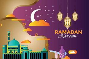 ramadan kareem festival islámico tradicional religioso vector