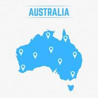 Australia Simple Map With Map Icons vector