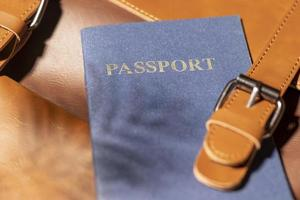 Close up backpack with passport photo