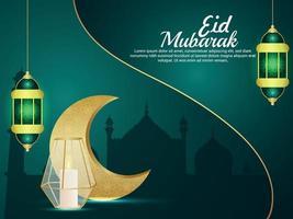 Eid mubarak invitation greeting card with vector illustration