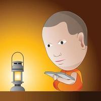 el pequeño monje está aprendiendo el dharma por la noche junto a la lámpara de aceite vector
