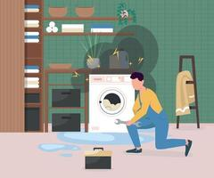 Fixing broken washing machine flat color vector illustration