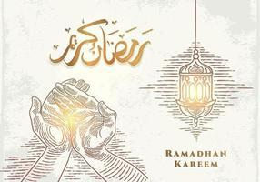 Tarjeta de felicitación de Ramadán Kareem con dibujo de linterna dorada y mano rezando vector