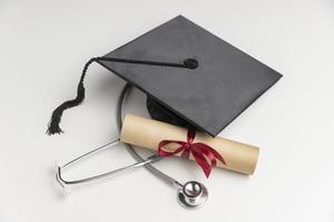 Graduation diploma and cap photo