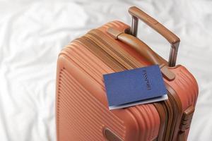 Passport on a suitcase photo