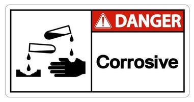 Signo de símbolo de peligro corrosivo sobre fondo blanco. vector
