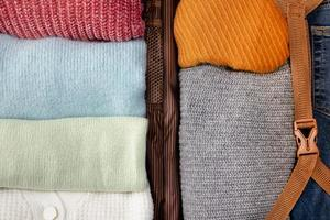 Clothes packed in luggage photo