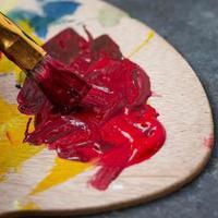 Close up of paint brush photo