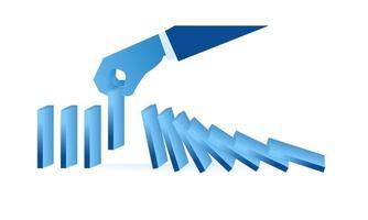 Detener el efecto dominó ilustración plana metáfora empresarial sobre el trabajo inteligente diseño de ilustración plana vector