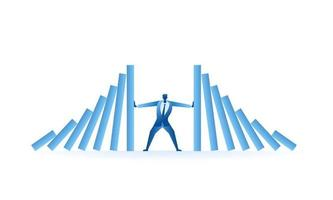 businessman tried to stop domino effect flat illustration about hard work and pressure for presentation vector
