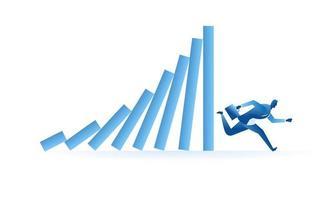 businessman run from domino effect business metaphor illustration design vector