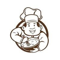 chef mixes the dough character. vector illustration