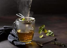 Hot water poured over tea photo