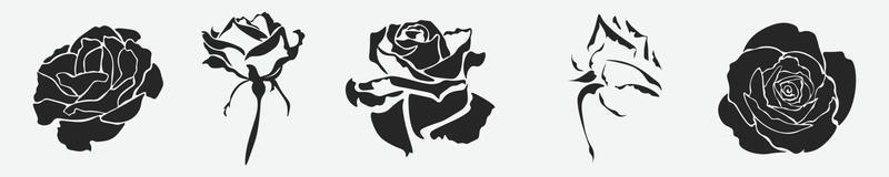 set of silhouettes of roses vector