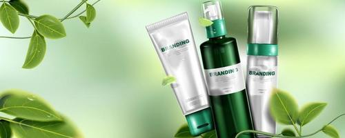 Natural skin care product. Package design and leaves with bokeh background. vector