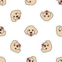 Vector cartoon character cute golden retriever puppy dog seamless pattern