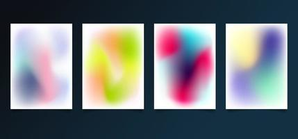 Set of modern template abstract blurred gradient smooth color backgrounds vector