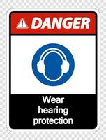 Danger Wear hearing protection on transparent background vector