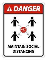 Danger Maintain social distancing stay 6ft apart sign coronavirus COVID19 vector