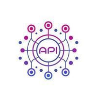 API, application programming interface, software integration technology vector