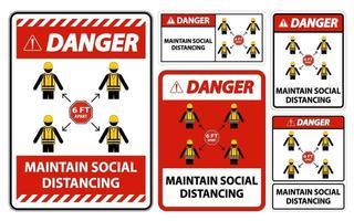 Danger Maintain social distancing stay 6ft apart sign coronavirus COVID 19 vector