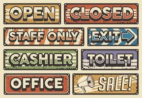 Retro vintage store board sign vector set fit for printing on tin or wood