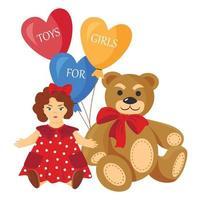 Vector cartoon illustration of a teddy bear and a doll. Balloons. Toys for girls.