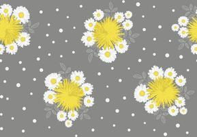 Camomile, dandelion and leaves seamless pattern on grey background. Vector illustration.