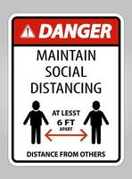 Danger Maintain Social Distancing At Least 6 Ft Sign vector