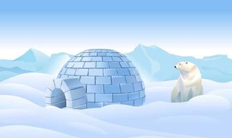Igloo and polar bear in the north vector