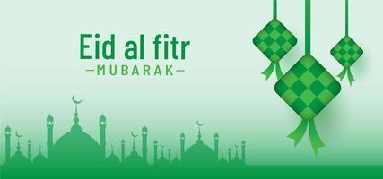 Eid al fitr mubarak beautiful nature backgrround vector