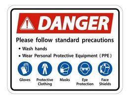 Danger Please follow standard precautions Wash hands Wear Personal Protective Equipment PPE Gloves Protective Clothing Masks Eye Protection Face Shield vector