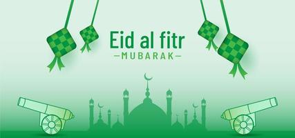 Beautiful idul fitri background with natural mosque and cannon vector