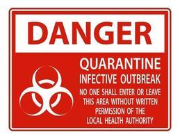 Danger Quarantine Infective Outbreak Sign vector
