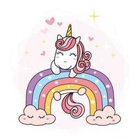 cute Unicorn magical purple on rainbow, simple doodle outline cartoon vector illustration