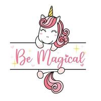 cute pink unicorn hanging on name frame, girl kid monogram template vector