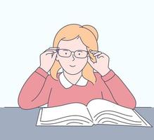 Education, learning, school concept. Happy girl studies subjects at school. vector