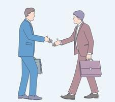 Business deal contract agreement support cooperation management new job concept. Two people man businessman office workers character shaking hands. Flat vector illustration.