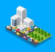 Distrito isométrico del bloque del módulo 3d parte de la ciudad con una calle de la infraestructura urbana de la arquitectura del vector. ilustración moderna en blanco para el diseño de juegos vector