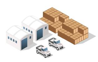 Landscape of industrial objects plant, factories, parking lots and warehouses. Isometric top view the city with streets, buildings and trees. Town construction industry vector