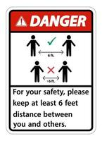 Danger Keep 6 Feet Distance For your safety please keep at least 6 feet distance between you and others vector