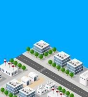 Landscape of industrial objects plant, factories, parking lots and warehouses. Isometric top view the city with streets, buildings and trees. Town construction industry illustration with clipping mask vector