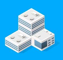 Cityscape design elements with isometric building city map generator. Isolated collection for creating your perfect street vector